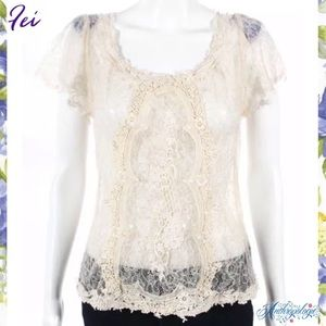 FEI (ANTHRO) Cream Lace Embroidered ZipBack Blouse